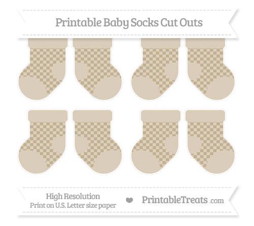Free Khaki Checker Pattern Small Baby Socks Cut Outs