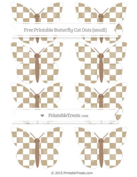 Free Khaki Checker Pattern Small Butterfly Cut Outs