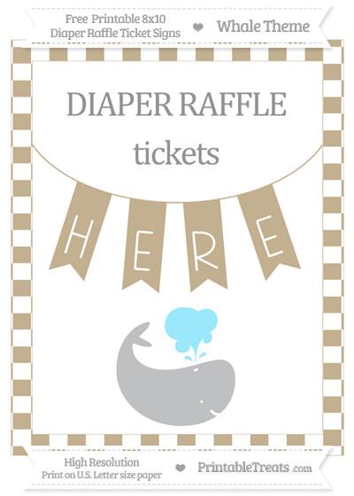Free Khaki Checker Pattern Whale 8x10 Diaper Raffle Ticket Sign