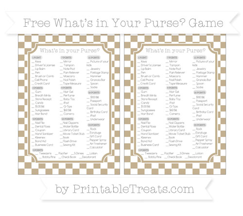 Free Khaki Checker Pattern What's in Your Purse Baby Shower Game