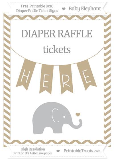 Free Khaki Chevron Baby Elephant 8x10 Diaper Raffle Ticket Sign