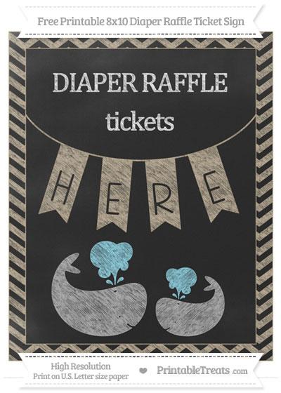 Free Khaki Chevron Chalk Style Baby Whale 8x10 Diaper Raffle Ticket Sign