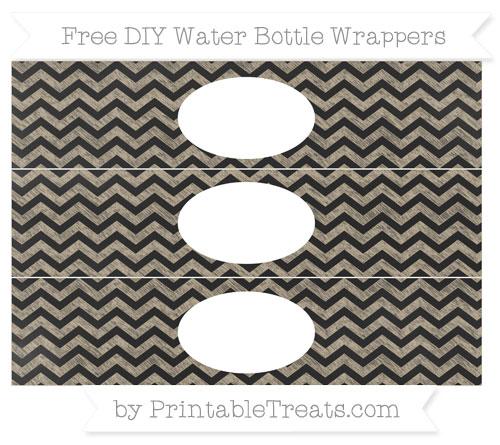 Free Khaki Chevron Chalk Style DIY Water Bottle Wrappers