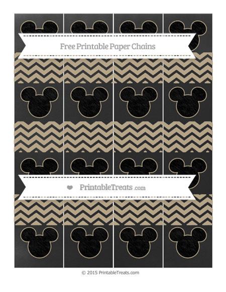 Free Khaki Chevron Chalk Style Mickey Mouse Paper Chains