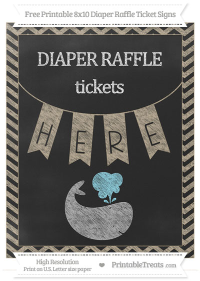 Free Khaki Chevron Chalk Style Whale 8x10 Diaper Raffle Ticket Sign