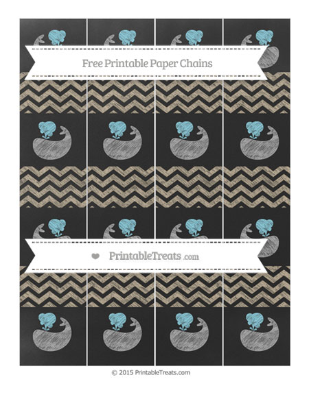 Free Khaki Chevron Chalk Style Whale Paper Chains