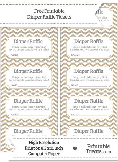 Free Khaki Chevron Diaper Raffle Tickets