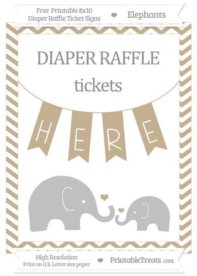 Free Khaki Chevron Elephant 8x10 Diaper Raffle Ticket Sign