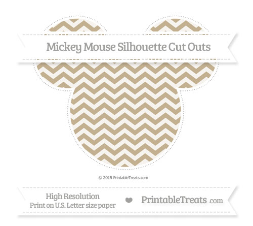 Free Khaki Chevron Extra Large Mickey Mouse Silhouette Cut Outs