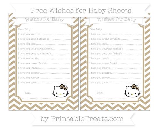 Free Khaki Chevron Hello Kitty Wishes for Baby Sheets