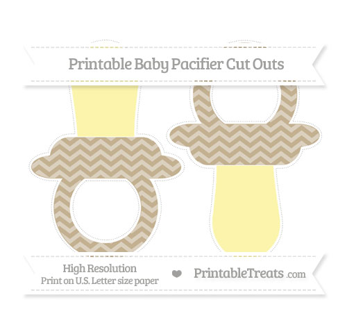 Free Khaki Chevron Large Baby Pacifier Cut Outs