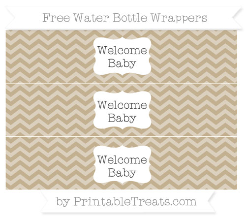 Free Khaki Chevron Welcome Baby Water Bottle Wrappers
