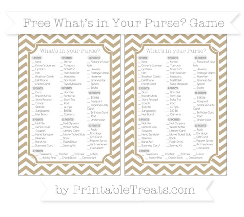 Free Khaki Chevron What's in Your Purse Baby Shower Game