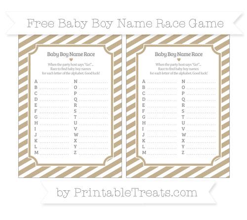 Free Khaki Diagonal Striped Baby Boy Name Race Game