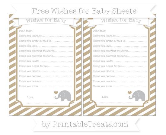 Free Khaki Diagonal Striped Baby Elephant Wishes for Baby Sheets
