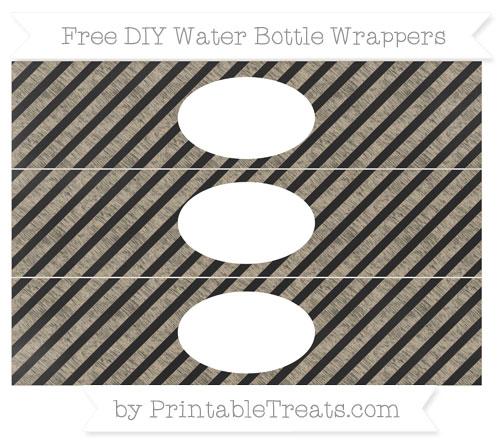 Free Khaki Diagonal Striped Chalk Style DIY Water Bottle Wrappers