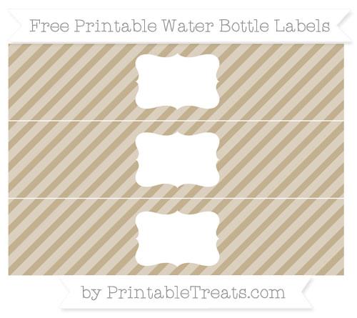 Free Khaki Diagonal Striped Water Bottle Labels