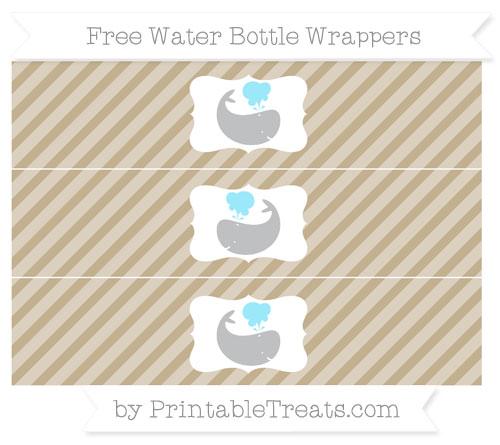 Free Khaki Diagonal Striped Whale Water Bottle Wrappers