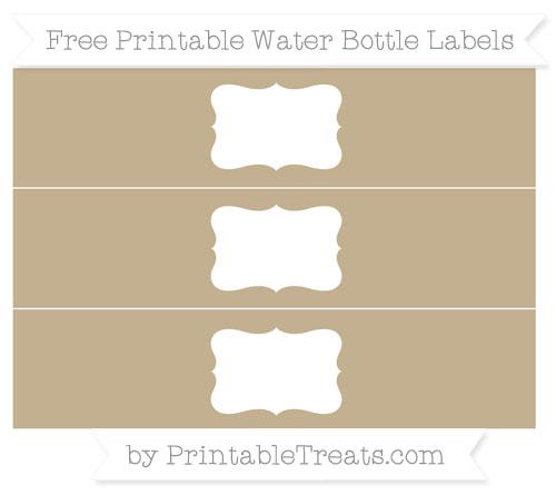 Free Khaki Water Bottle Labels