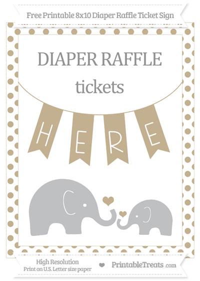 Free Khaki Dotted Elephant 8x10 Diaper Raffle Ticket Sign