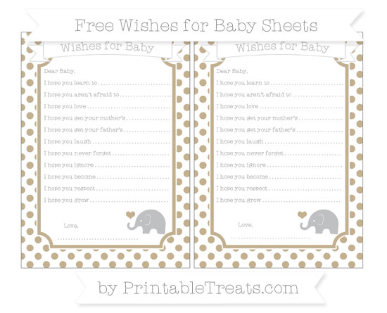 Free Khaki Dotted Pattern Baby Elephant Wishes for Baby Sheets