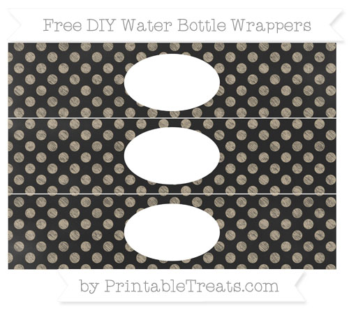 Free Khaki Dotted Pattern Chalk Style DIY Water Bottle Wrappers