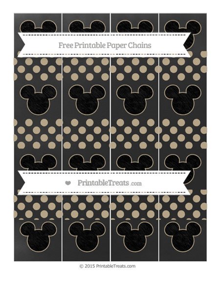Free Khaki Dotted Pattern Chalk Style Mickey Mouse Paper Chains