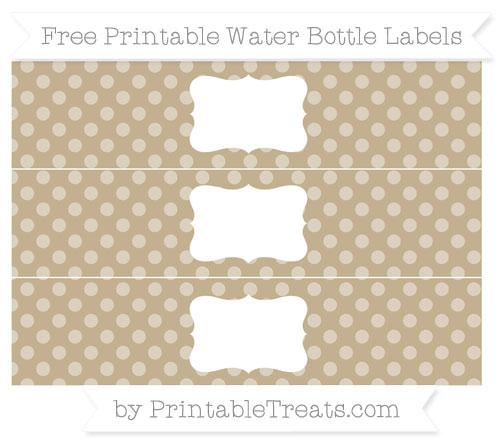 Free Khaki Dotted Pattern Water Bottle Labels
