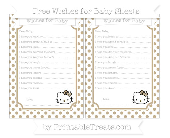 Free Khaki Dotted Pattern Hello Kitty Wishes for Baby Sheets