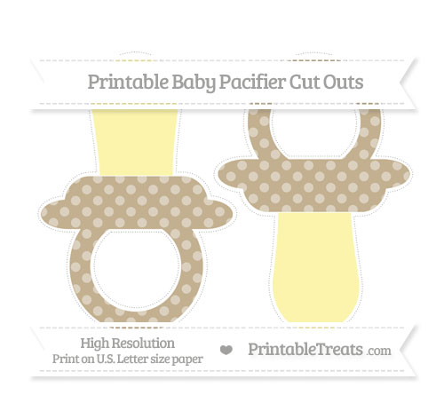 Free Khaki Dotted Pattern Large Baby Pacifier Cut Outs