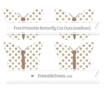 Free Khaki Dotted Pattern Medium Butterfly Cut Outs