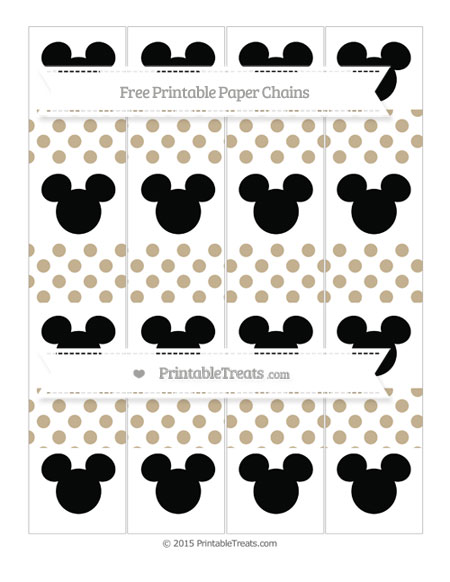 Free Khaki Dotted Pattern Mickey Mouse Paper Chains