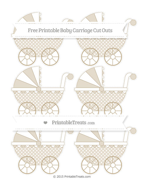 Free Khaki Dotted Pattern Small Baby Carriage Cut Outs