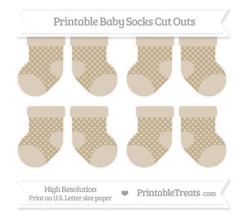 Free Khaki Dotted Pattern Small Baby Socks Cut Outs