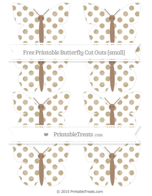 Free Khaki Dotted Pattern Small Butterfly Cut Outs