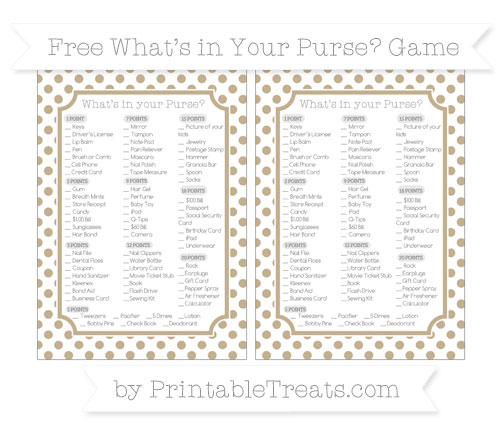 Free Khaki Dotted Pattern What's in Your Purse Baby Shower Game