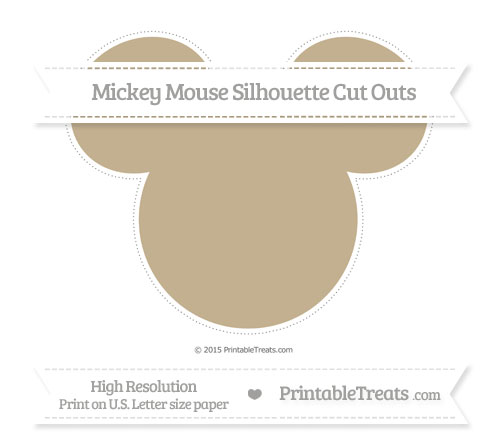 Free Khaki Extra Large Mickey Mouse Silhouette Cut Outs