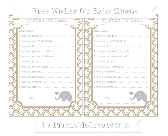 Free Khaki Fish Scale Pattern Baby Elephant Wishes for Baby Sheets