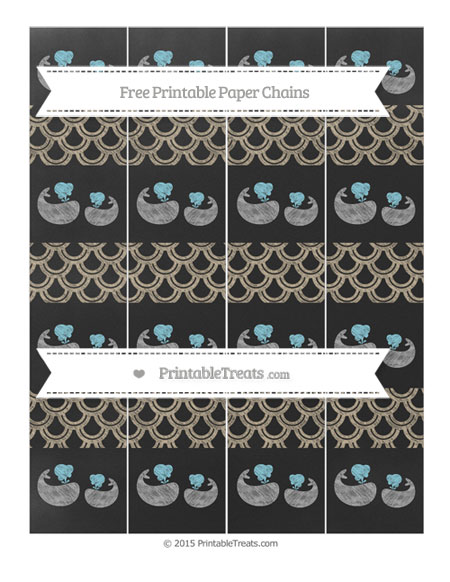 Free Khaki Fish Scale Pattern Chalk Style Baby Whale Paper Chains