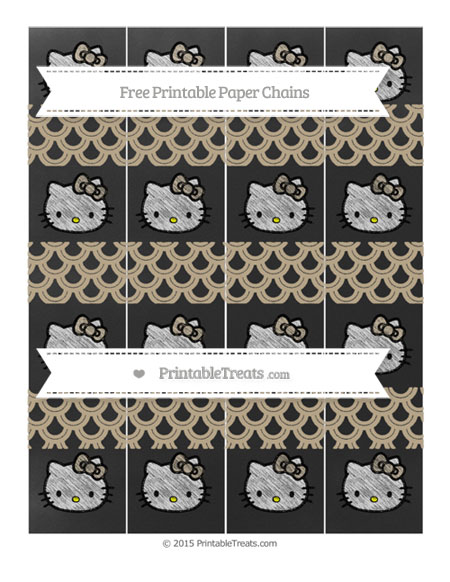 Free Khaki Fish Scale Pattern Chalk Style Hello Kitty Paper Chains