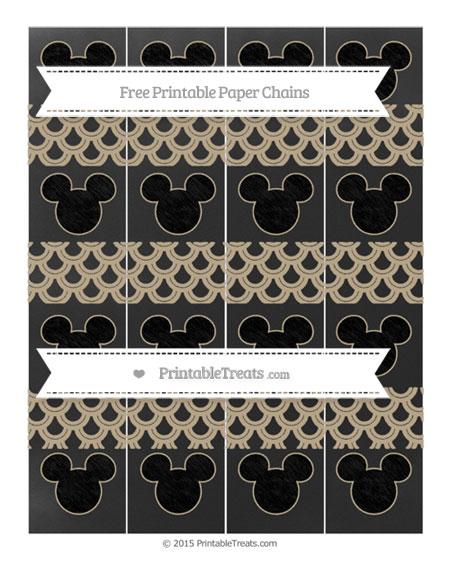 Free Khaki Fish Scale Pattern Chalk Style Mickey Mouse Paper Chains