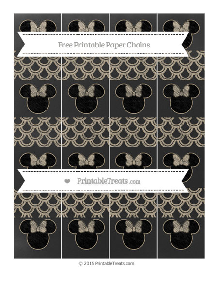 Free Khaki Fish Scale Pattern Chalk Style Minnie Mouse Paper Chains