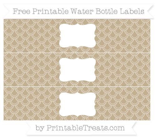 Free Khaki Fish Scale Pattern Water Bottle Labels