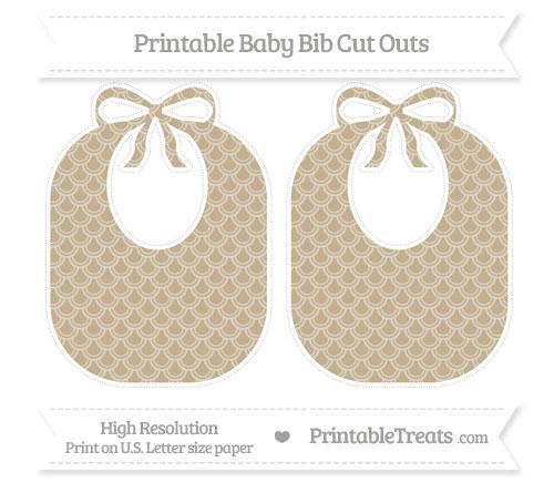 Free Khaki Fish Scale Pattern Large Baby Bib Cut Outs