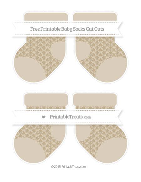 Free Khaki Fish Scale Pattern Medium Baby Socks Cut Outs
