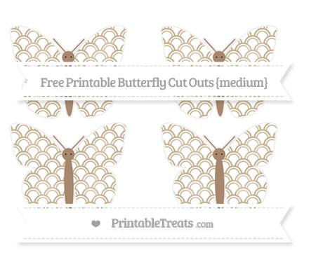 Free Khaki Fish Scale Pattern Medium Butterfly Cut Outs