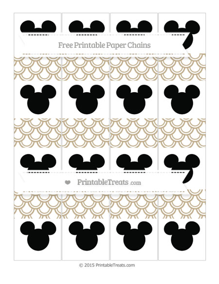 Free Khaki Fish Scale Pattern Mickey Mouse Paper Chains