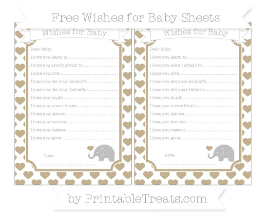 Free Khaki Heart Pattern Baby Elephant Wishes for Baby Sheets