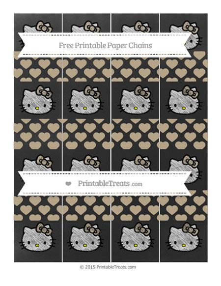 Free Khaki Heart Pattern Chalk Style Hello Kitty Paper Chains