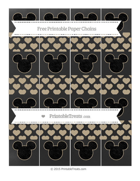 Free Khaki Heart Pattern Chalk Style Mickey Mouse Paper Chains
